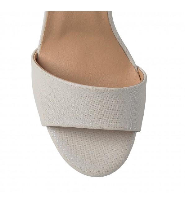 Босоніжки жіночі молочні на високому каблуку Aiformaria