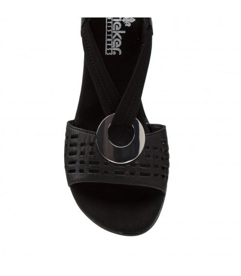 Босоніжки жіночі шкіряні чорні на каблуку Rieker