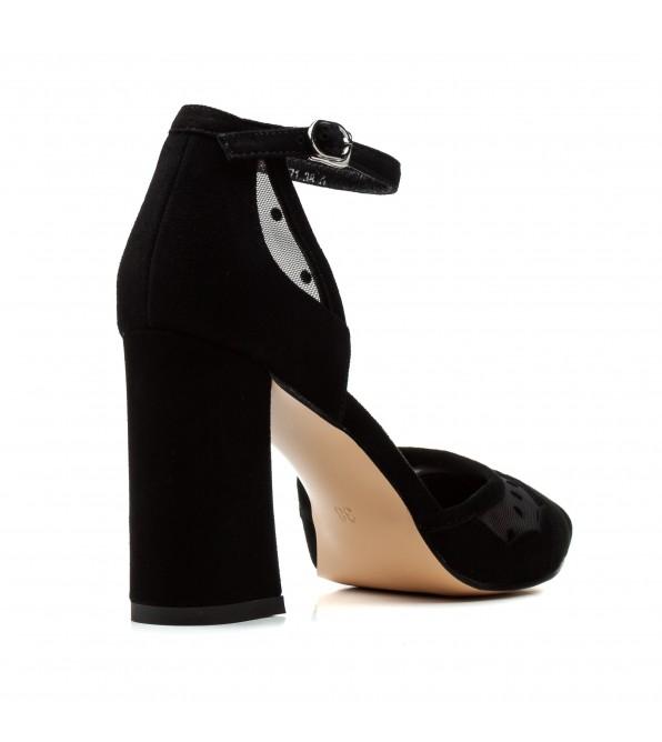Босоніжки жіночі замшеві чорні на каблуці Angelo Vani