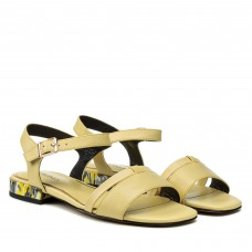 Босоножки женские кожаные желтые на низком каблуке Geronea