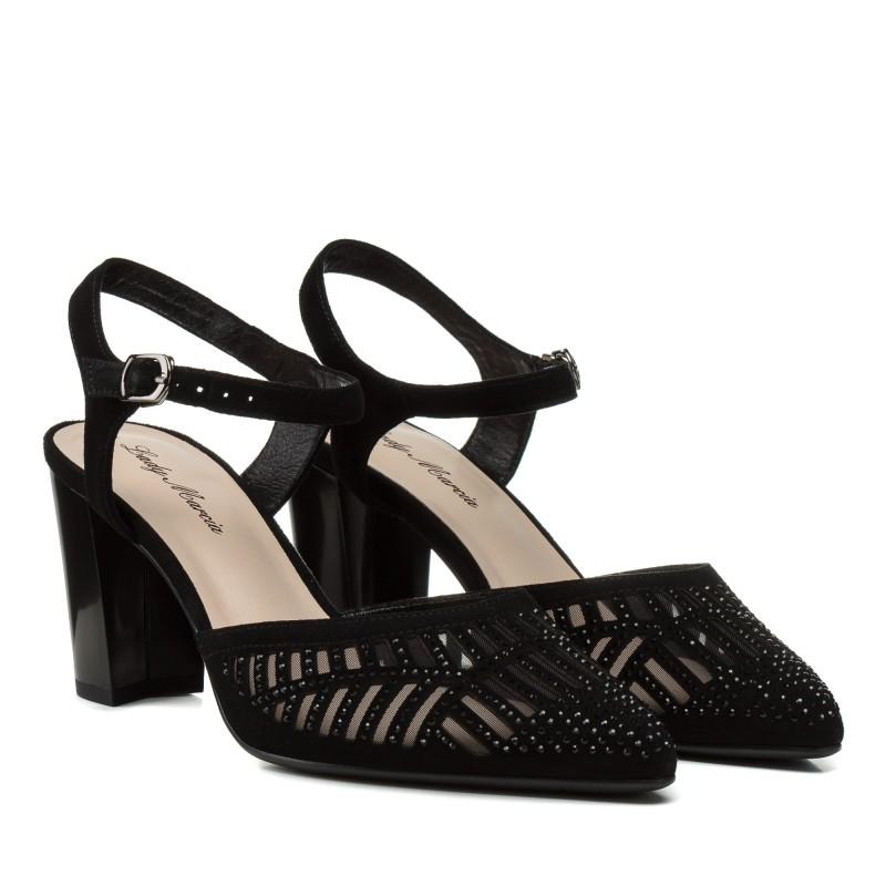 Босоніжки жіночі замшеві чорні закриті на каблуці Lady marcia
