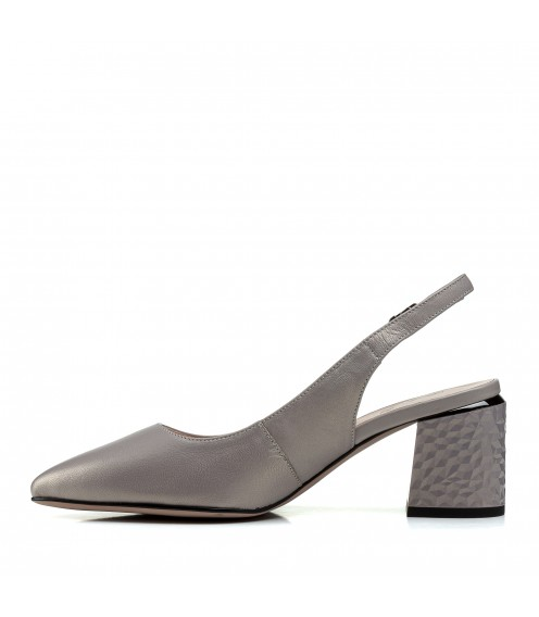 Босоніжки жіночі шкіряні сірі на товстому  каблуку Lady marcia