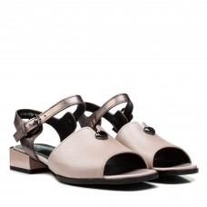 Босоножки женские кожаные розовые на толстом каблуке
