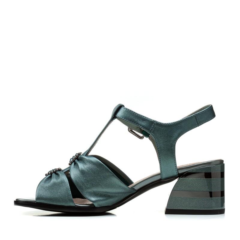 Босоніжки жіночі шкіряні смарагдові на товстому каблуку