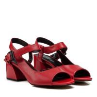 Босоножки женские кожаные красные на толстом каблуке