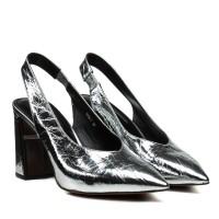 Босоножки женские кожаные, серебристые, на каблуке, с острым носком DOVETOL