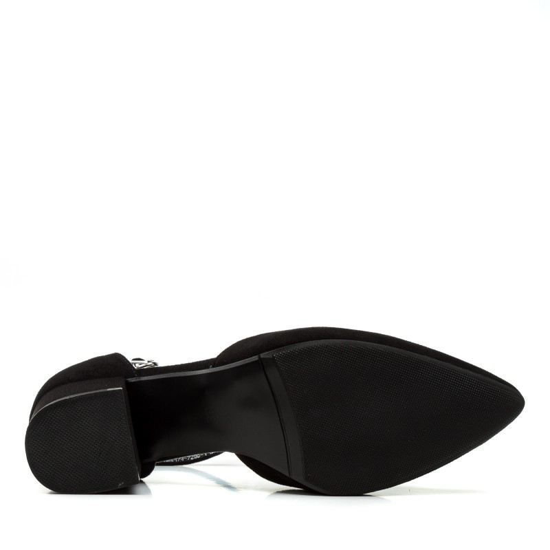 Босоніжки жіночі чорні, замшеві, на середньому каблуці, з гострим носком AIFORMARIA