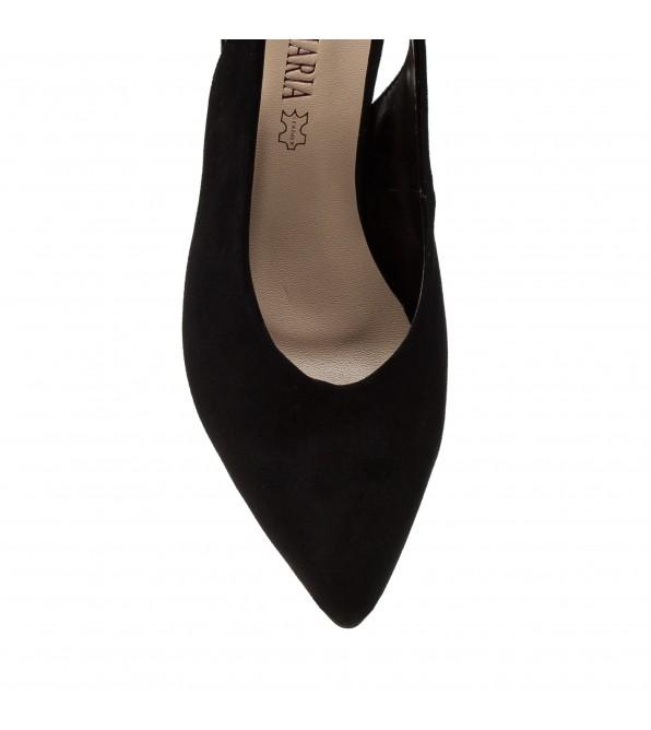Босоніжки жіночі замшеві, чорні, на широкому каблуці, з гострим носком AIFORMARIA