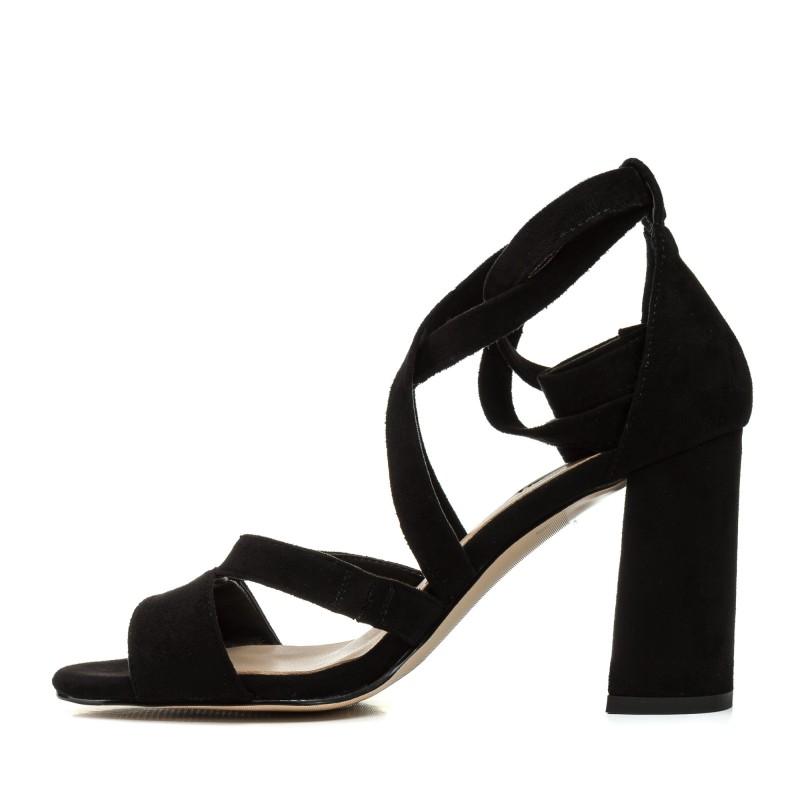 Босоніжки жіночі замшеві чорні на каблуці Aiformaria