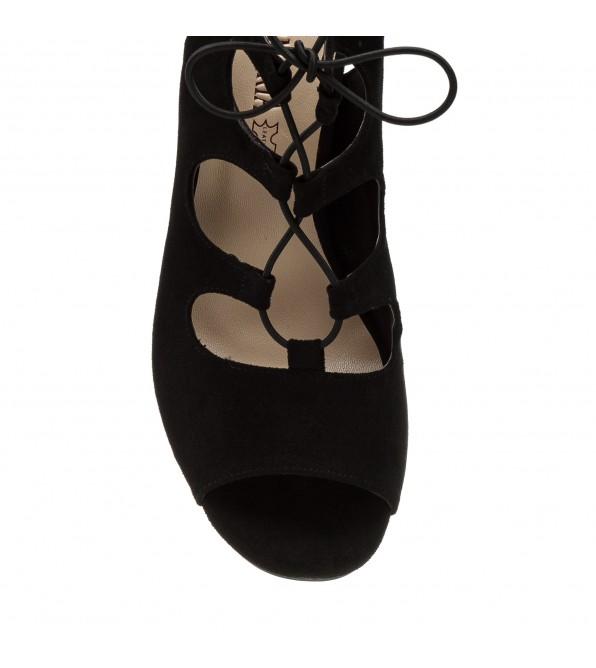 Босоніжки жіночі змшеві чорні на товтому каблуці Aiformaria