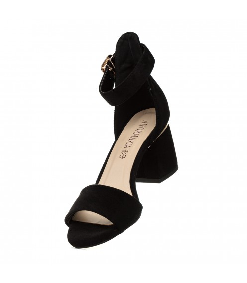 Босоніжки жіночі замшеві, чорні, на стійкому каблуці Aiformaria
