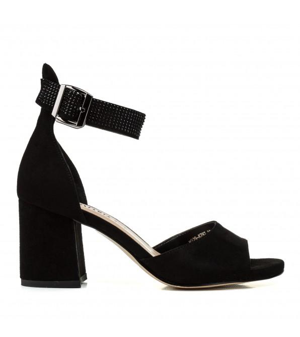 Босоніжки жіночі чорні, замшеві, на широкому каблуці Aiformaria