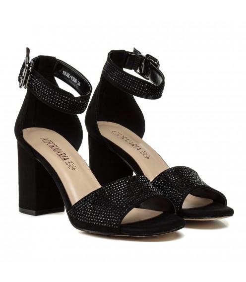 Босоніжки жіночі чорні, замшеві, зі стразами, на широкому каблуці Aiformaria