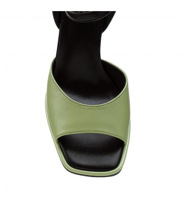 Босоніжки жіночі шкіряні салатові на каблуку  Brocoli
