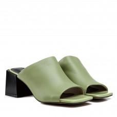 Шлепанцы женские кожаные салатовые на толстом каблуке