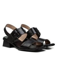 Босоножки женские кожаные черные на низком каблуке Brocoli