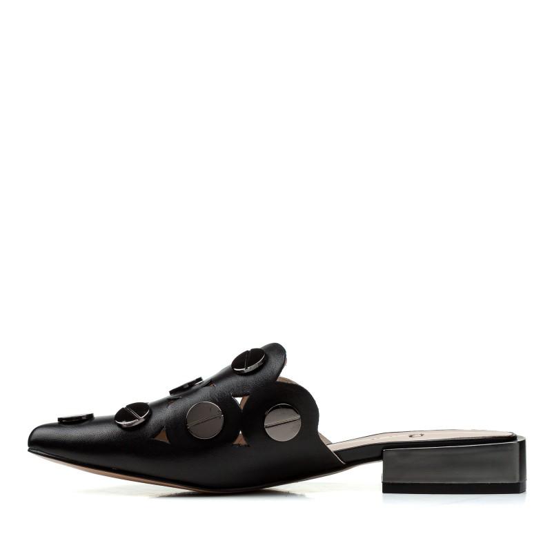 Шльопанці жіночі шкіряні чорні на низькому ходу Brocoli