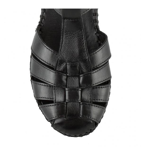 Босоніжки жіночі шкіряні чорні на танкетці Messimod
