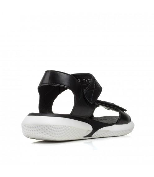 Босоніжки жіночі шкіряні чорні спортивні Teona