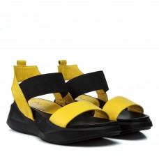 Босоножки женские кожаные, желтые, на платформе Aquamarin Турция