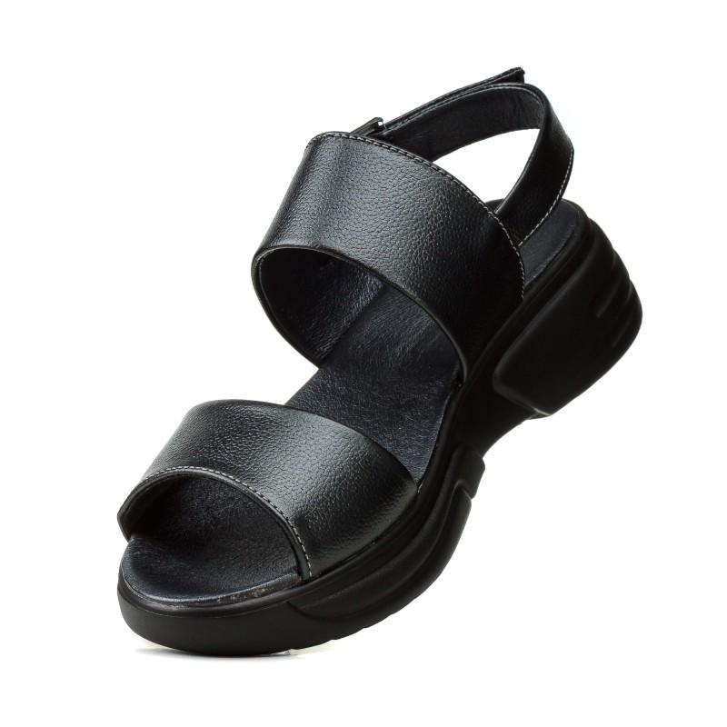 Босоніжки жіночі шкіряні чорні на платформі Lonza