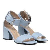 Босоножки женские кожаные, голубые, на широком каблуке Guero Турция