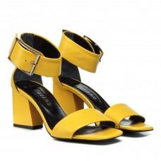 Босоножки женские кожаные, желтые, на широком каблуке Guero Турция