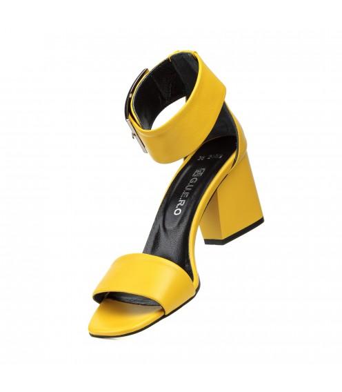 Босоніжки жіночі шкіряні, жовті, на широкому каблуці Guero Туреччина