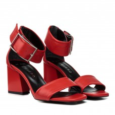 Босоніжки шкіряні червоні стильні на товстому каблуці Guero
