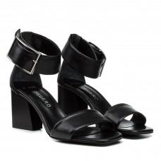 Босоножки кожаные черные стильные на толстом каблуке Guero