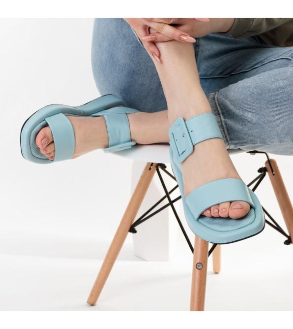 Босоніжки жіночі шкіряні блакитні Guero