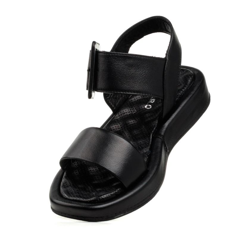 Босоніжки жіночі шкіряні чорні Guero