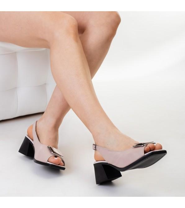 Босоніжки жіночі шкіряні на каблуці бежеві Guero
