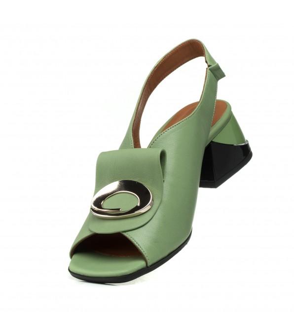 Босоніжки шкіряні зелені на широкому каблуку Mario muzi