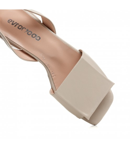 Босоніжки жіночі шкіряні бежеві на низькому ходу Evromoda