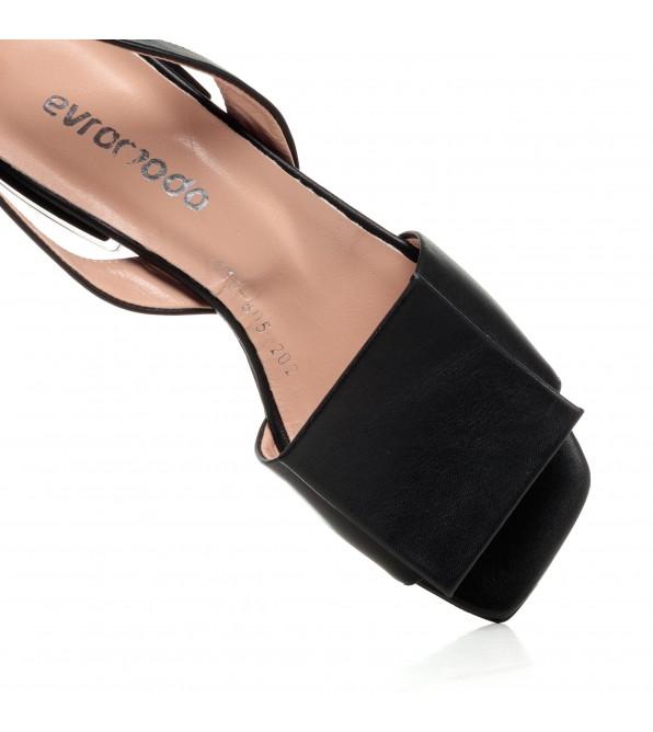 Босоніжки жіночі шкіряні чорні на низькому ходу Evromoda