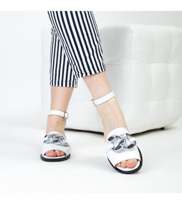 Босоніжки жіночі білі шкіряні з ланцюжком Evromoda