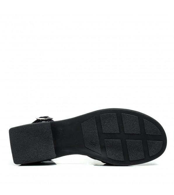 Босоніжки жіночі чорні шкіряні з ланцюжком Evromoda