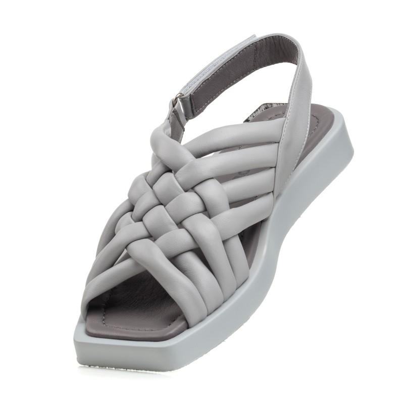 Босоніжки жіночі шкіряні без каблука сірі Evromoda