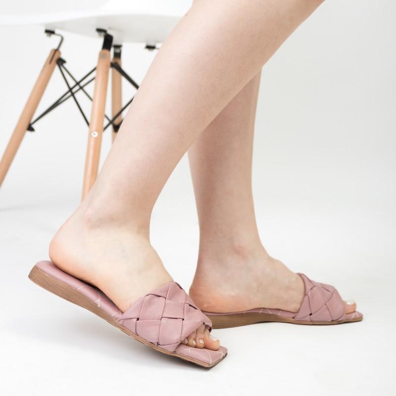 Шльопанці жіночі шкіряні рожеві на низькому ходу Ripka