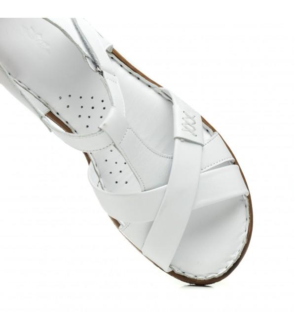 Босоніжки жіночі шкіряні білі на низькому ходу Magnolya