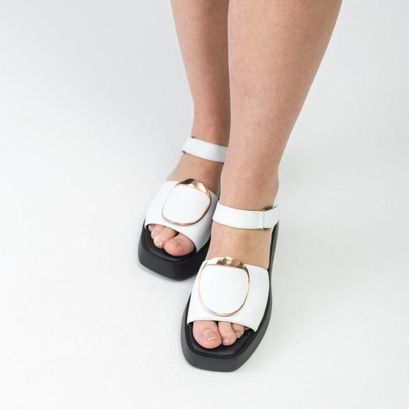 Босоніжки шкіряні жіночі білі Teona