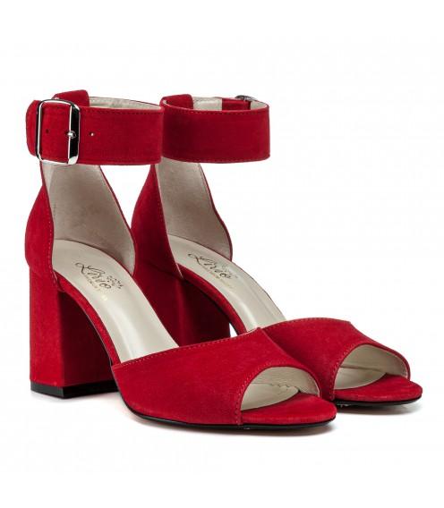 Босоніжки жіночі замшеві червоні на високому каблуку Lirio
