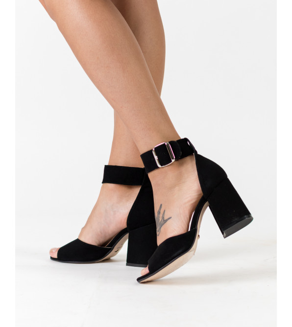 Босоніжки жіночі замшеві чорні на високому каблуці Lirio