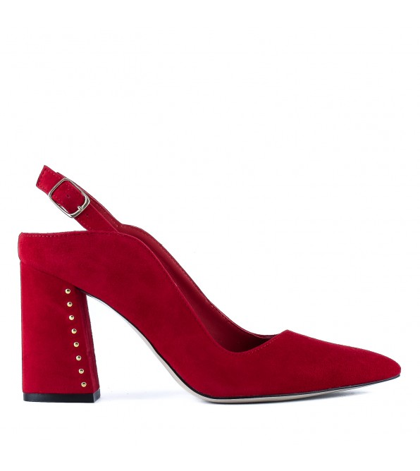 Босоніжки жіночі замшеві червоні оригінальні з гострим носком Visconi