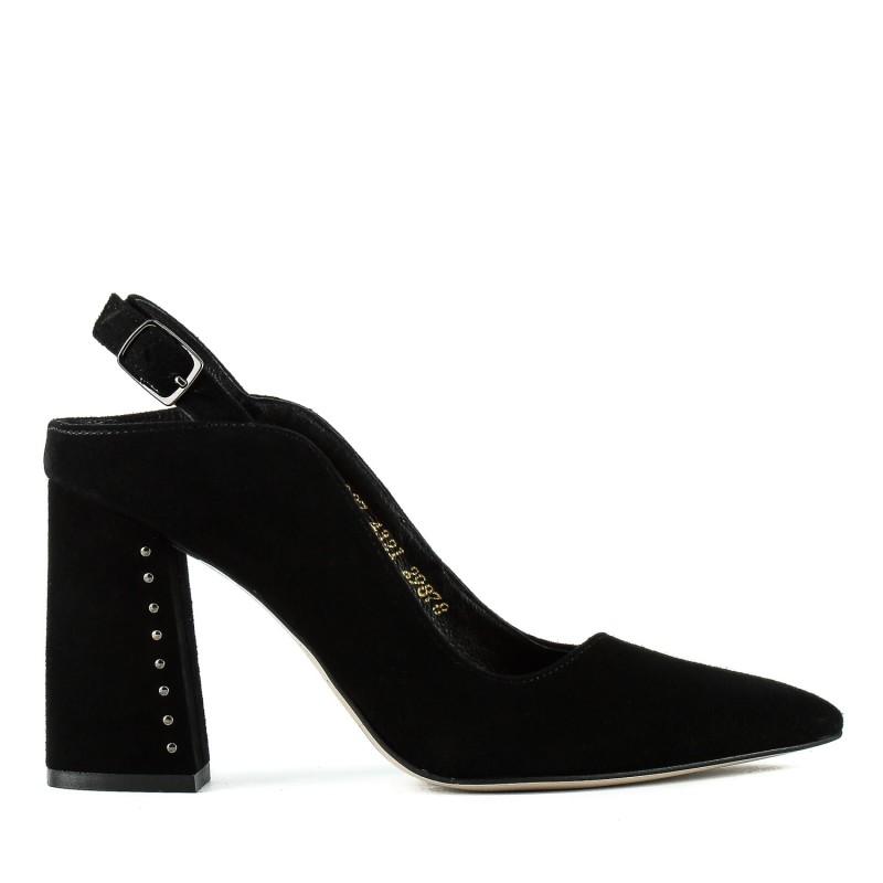 Босоніжки жіночі замшеві чорні на каблуці з закритим носком