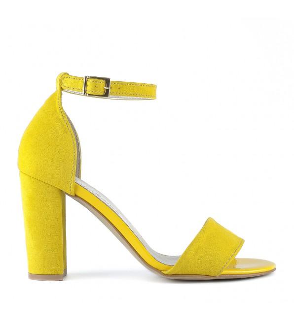 Босоніжки жіночі замшеві жовті на товстому каблуці ZanZara