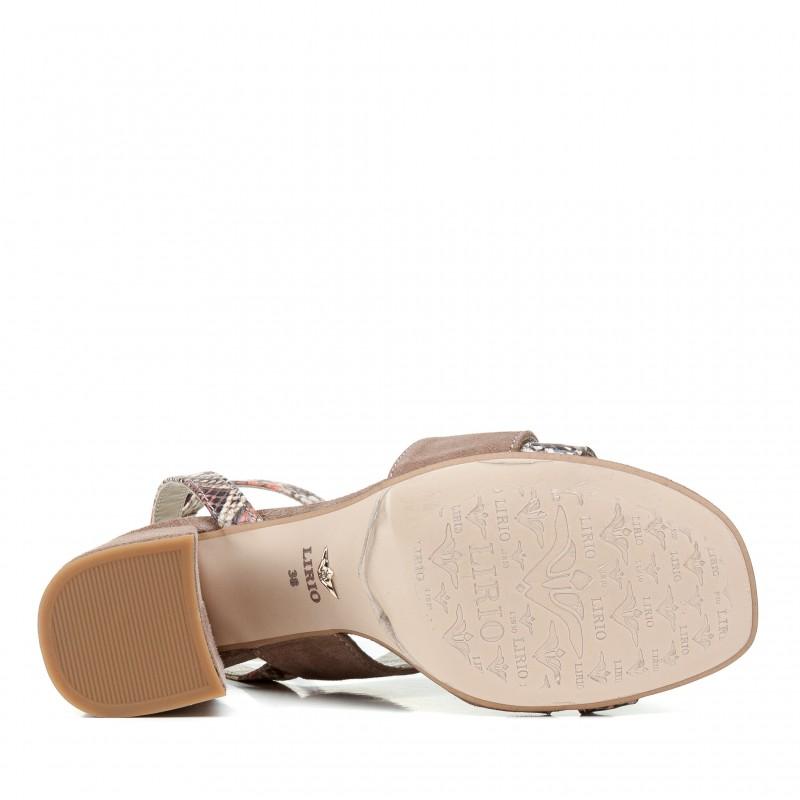 Босоніжки жіночі замшеві бежеві на зручному каблуку Lirio