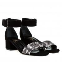 Босоніжки жіночі замшеві чорні на низькому каблуці Lirio
