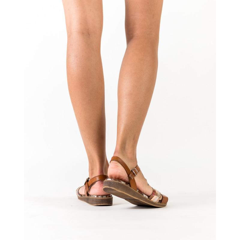 Босоніжки жіночі шкіряні коричневі на низькому ходу Presso